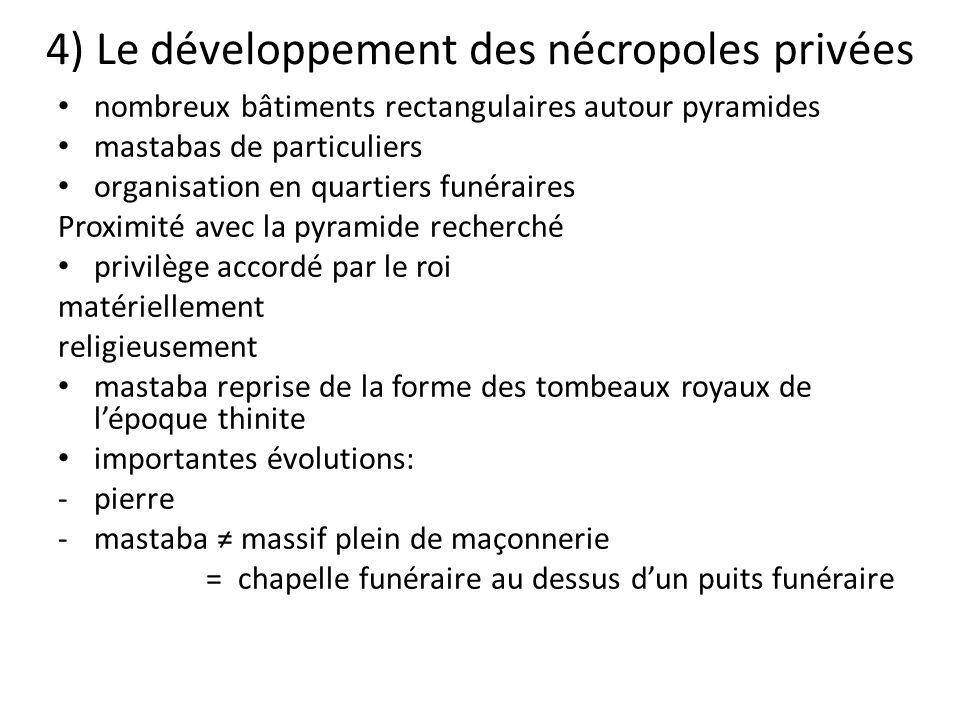 4) Le développement des nécropoles privées nombreux bâtiments rectangulaires autour pyramides mastabas de particuliers organisation en quartiers funér