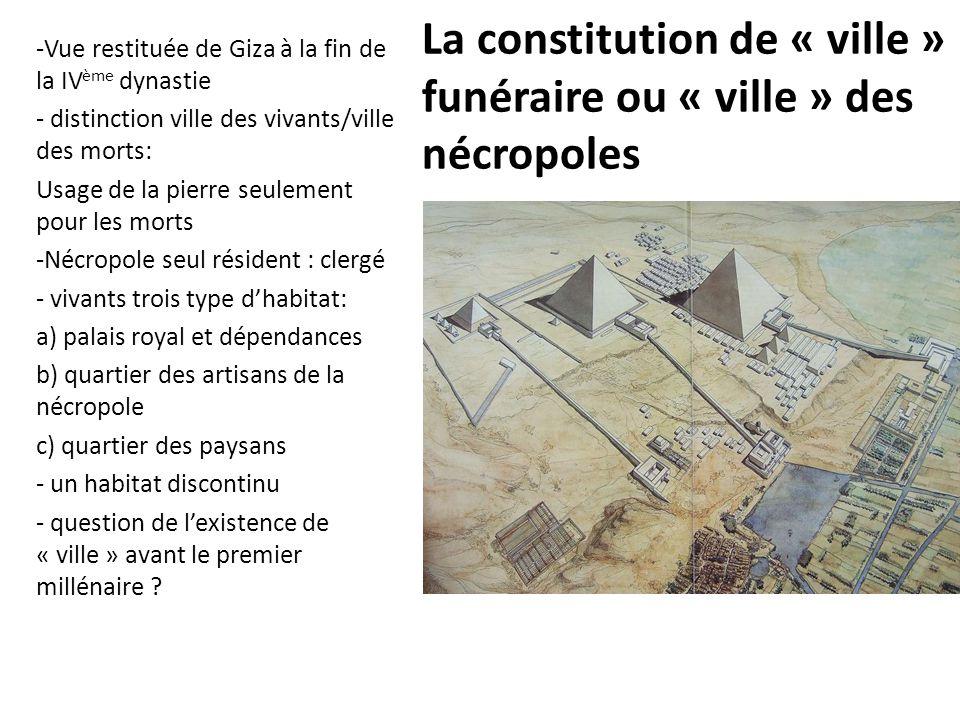 La constitution de « ville » funéraire ou « ville » des nécropoles -Vue restituée de Giza à la fin de la IV ème dynastie - distinction ville des vivan