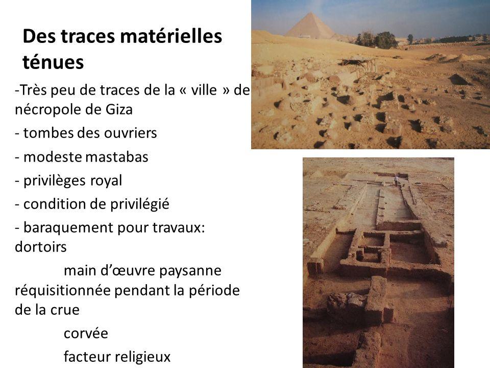 Des traces matérielles ténues -Très peu de traces de la « ville » de nécropole de Giza - tombes des ouvriers - modeste mastabas - privilèges royal - c