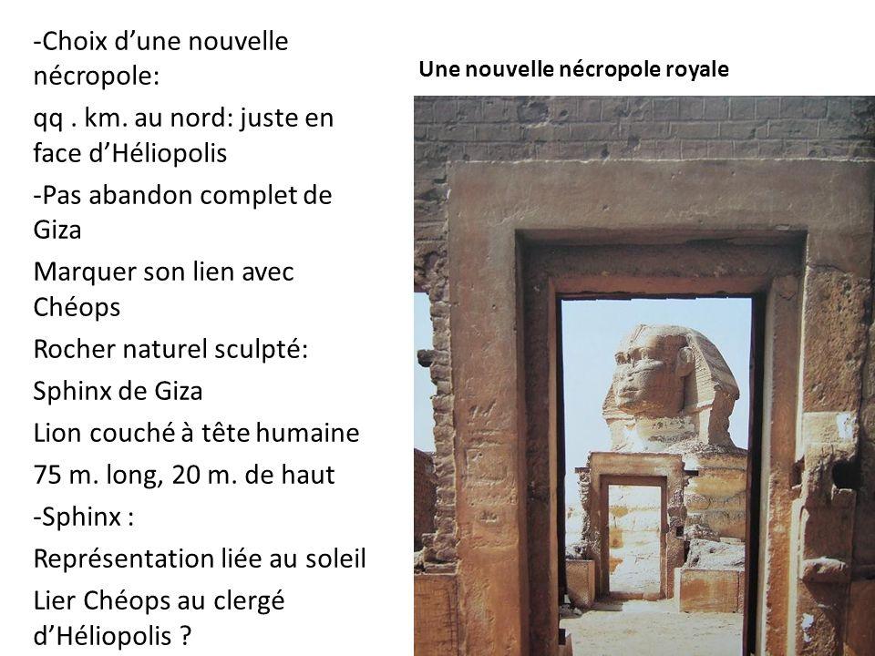 Une nouvelle nécropole royale -Choix d'une nouvelle nécropole: qq. km. au nord: juste en face d'Héliopolis -Pas abandon complet de Giza Marquer son li