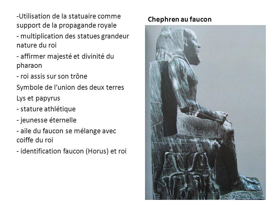 Chephren au faucon -Utilisation de la statuaire comme support de la propagande royale - multiplication des statues grandeur nature du roi - affirmer m