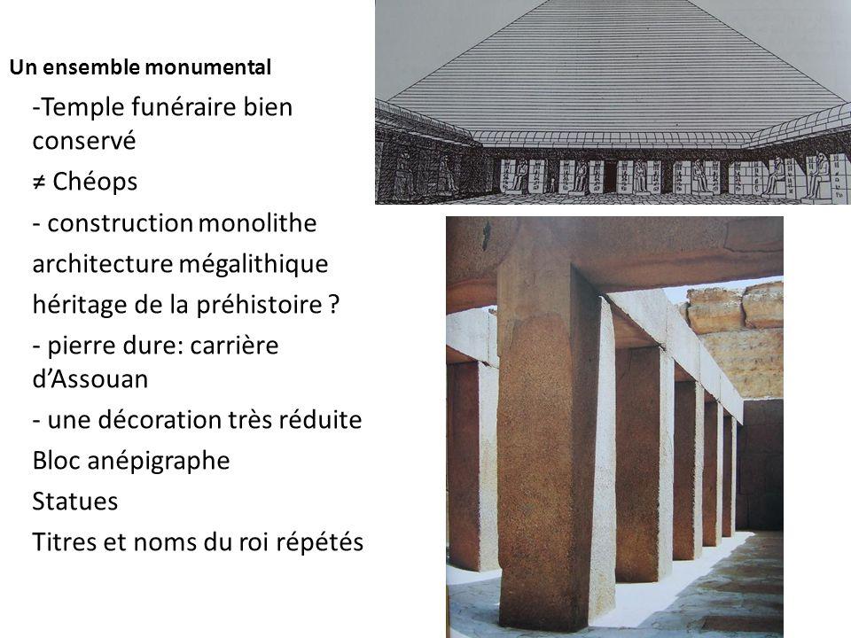 Un ensemble monumental -Temple funéraire bien conservé ≠ Chéops - construction monolithe architecture mégalithique héritage de la préhistoire ? - pier