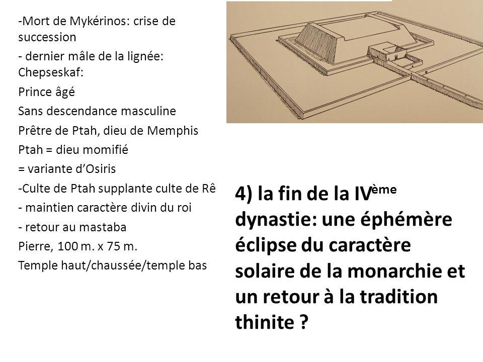 4) la fin de la IV ème dynastie: une éphémère éclipse du caractère solaire de la monarchie et un retour à la tradition thinite ? -Mort de Mykérinos: c