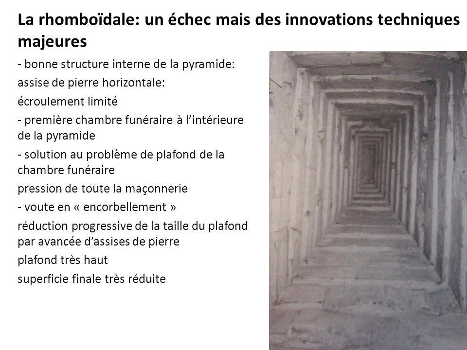 La rhomboïdale: un échec mais des innovations techniques majeures - bonne structure interne de la pyramide: assise de pierre horizontale: écroulement