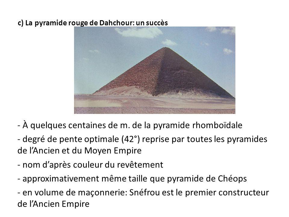 c) La pyramide rouge de Dahchour: un succès - À quelques centaines de m. de la pyramide rhomboïdale - degré de pente optimale (42°) reprise par toutes