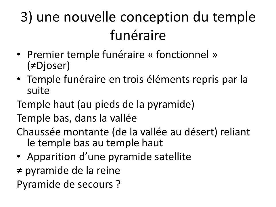 3) une nouvelle conception du temple funéraire Premier temple funéraire « fonctionnel » (≠Djoser) Temple funéraire en trois éléments repris par la sui