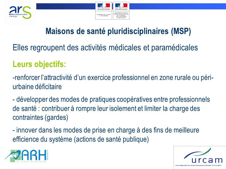 Maisons de santé pluridisciplinaires (MSP) Elles regroupent des activités médicales et paramédicales Leurs objectifs: -renforcer l'attractivité d'un e