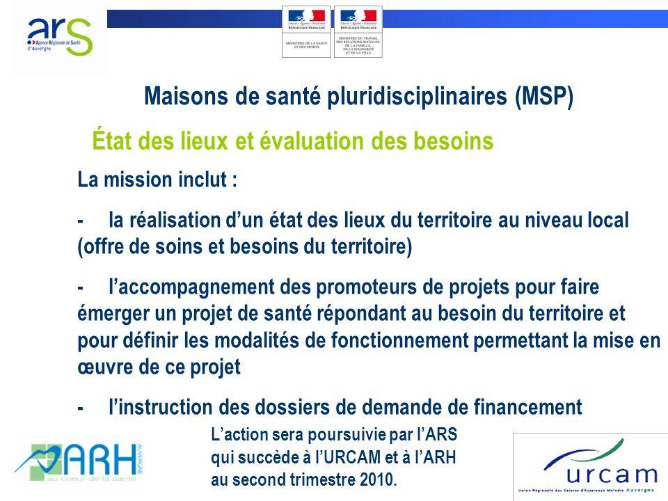 La mission inclut : - la réalisation d'un état des lieux du territoire au niveau local (offre de soins et besoins du territoire) - l'accompagnement des promoteurs de projets pour faire émerger un projet de santé répondant au besoin du territoire et pour définir les modalités de fonctionnement permettant la mise en œuvre de ce projet - l'instruction des dossiers de demande de financement L'action sera poursuivie par l'ARS qui succède à l'URCAM et à l'ARH au second trimestre 2010.