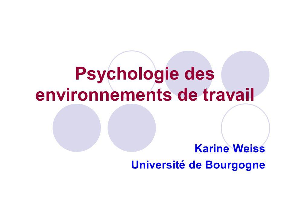 Psychologie des environnements de travail Karine Weiss Université de Bourgogne