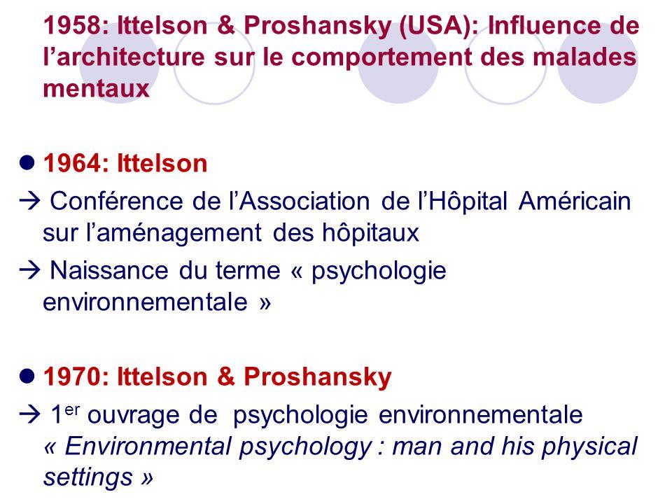 1958: Ittelson & Proshansky (USA): Influence de l'architecture sur le comportement des malades mentaux 1964: Ittelson  Conférence de l'Association de l'Hôpital Américain sur l'aménagement des hôpitaux  Naissance du terme « psychologie environnementale » 1970: Ittelson & Proshansky  1 er ouvrage de psychologie environnementale « Environmental psychology : man and his physical settings »