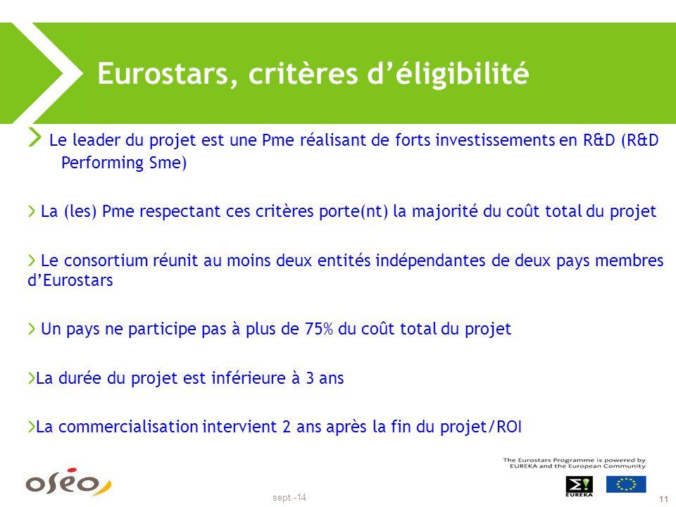 sept.-14 11 Eurostars, critères d'éligibilité Le leader du projet est une Pme réalisant de forts investissements en R&D (R&D Performing Sme) La (les)