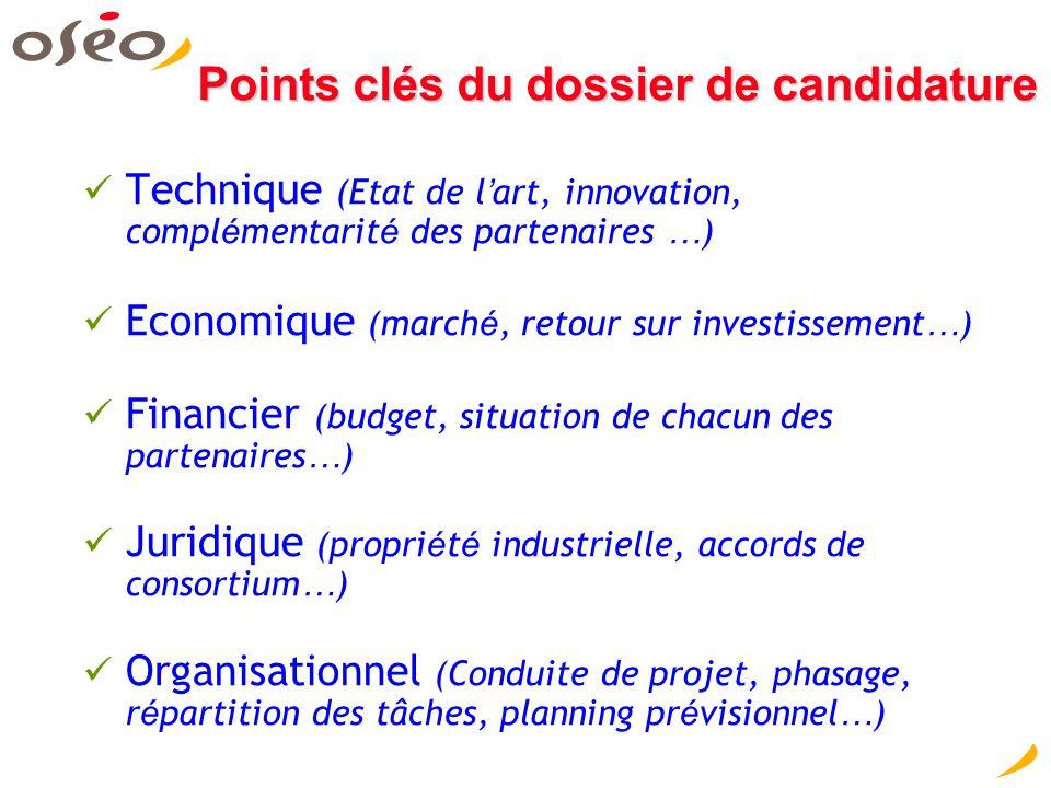Points clés du dossier de candidature Technique (Etat de l ' art, innovation, compl é mentarit é des partenaires … ) Economique (march é, retour sur i