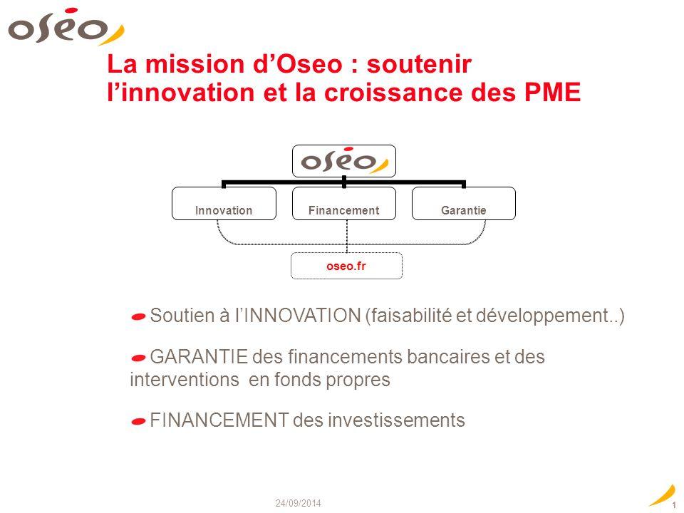 24/09/2014 1 La mission d'Oseo : soutenir l'innovation et la croissance des PME oseo.fr Soutien à l'INNOVATION (faisabilité et développement..) GARANT