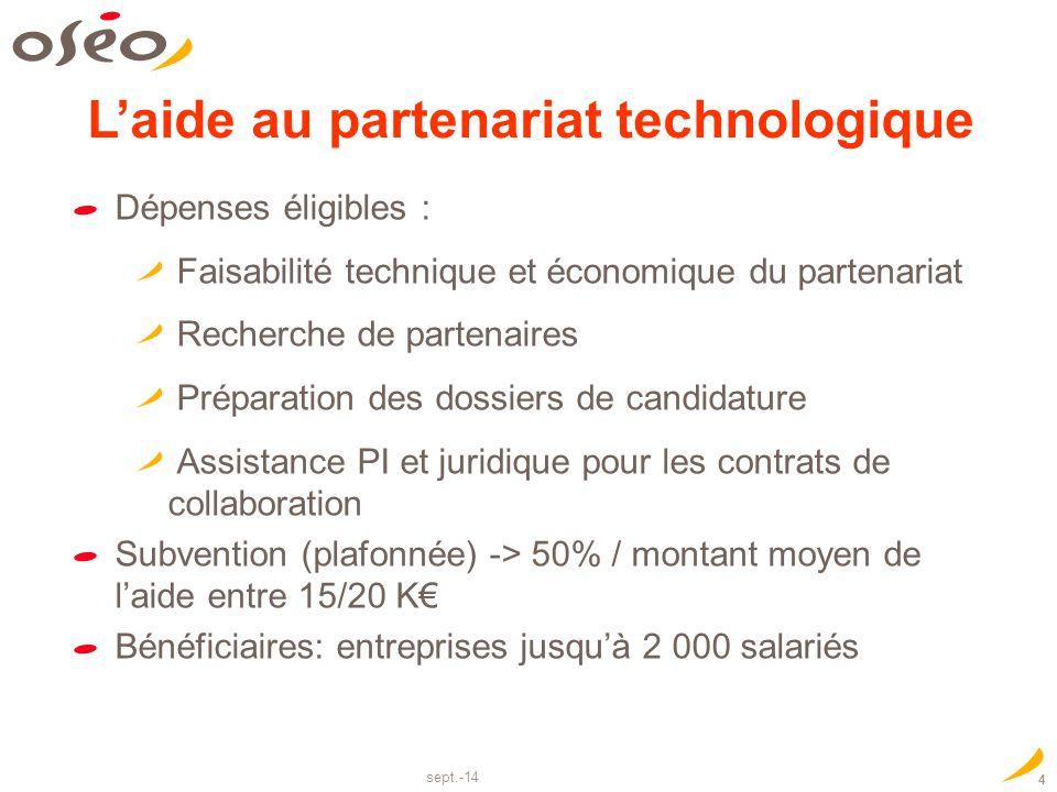 sept.-14 4 Dépenses éligibles : Faisabilité technique et économique du partenariat Recherche de partenaires Préparation des dossiers de candidature As
