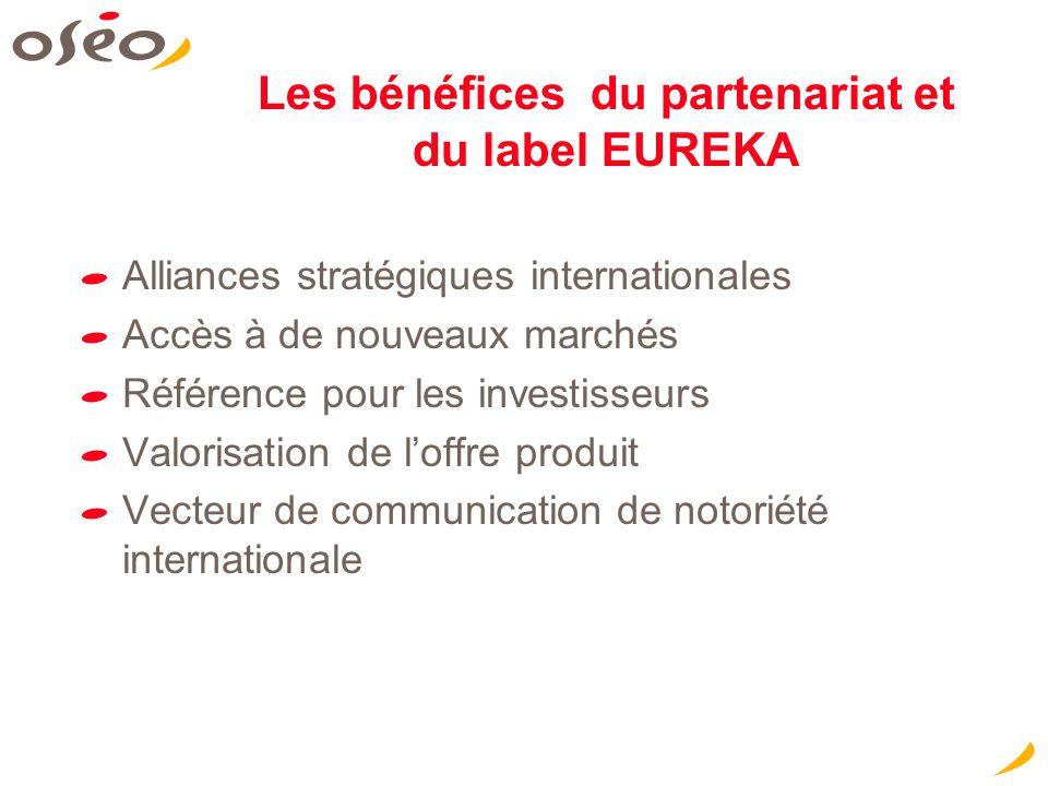 Les bénéfices du partenariat et du label EUREKA Alliances stratégiques internationales Accès à de nouveaux marchés Référence pour les investisseurs Va