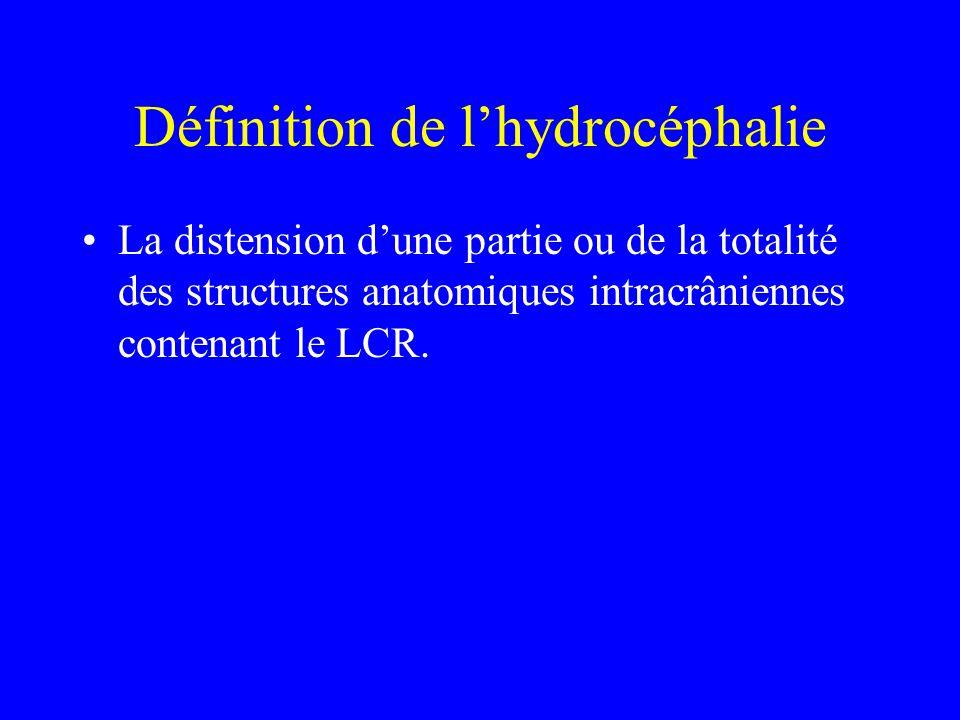 Définition de l'hydrocéphalie La distension d'une partie ou de la totalité des structures anatomiques intracrâniennes contenant le LCR.