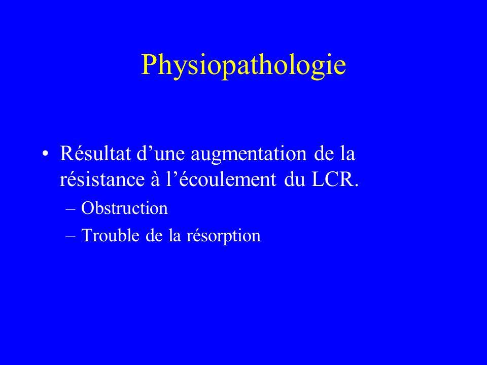 Physiopathologie Résultat d'une augmentation de la résistance à l'écoulement du LCR. –Obstruction –Trouble de la résorption