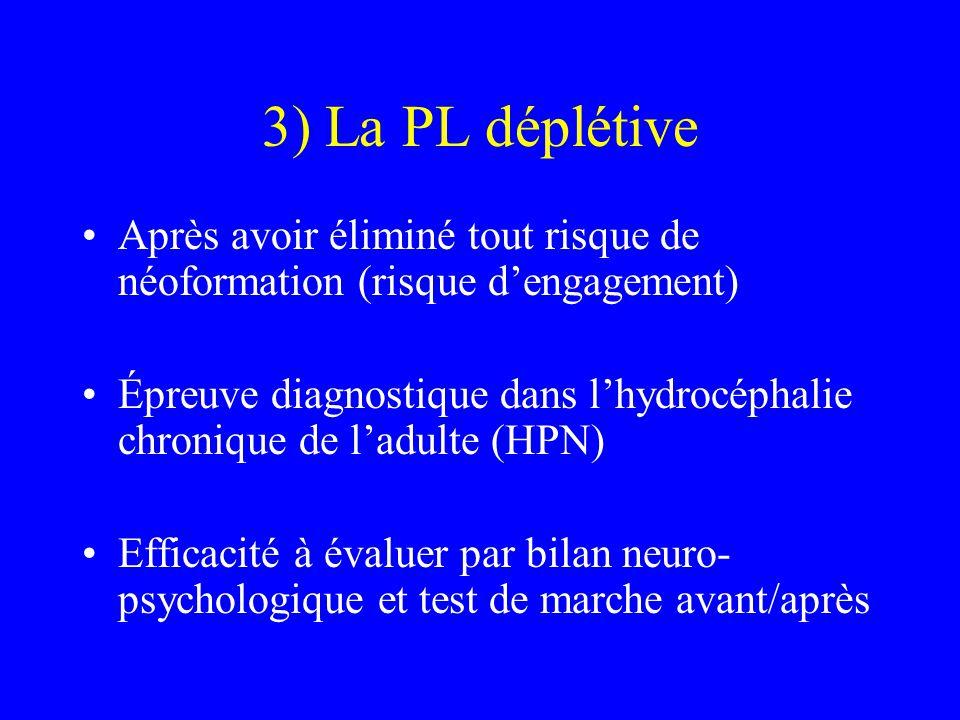 3) La PL déplétive Après avoir éliminé tout risque de néoformation (risque d'engagement) Épreuve diagnostique dans l'hydrocéphalie chronique de l'adul