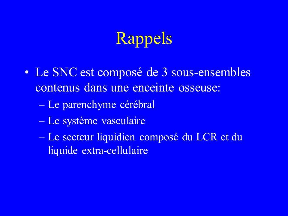 Rappels Le SNC est composé de 3 sous-ensembles contenus dans une enceinte osseuse: –Le parenchyme cérébral –Le système vasculaire –Le secteur liquidie
