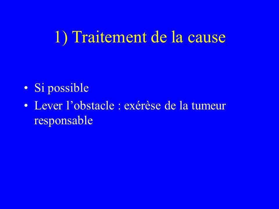 1) Traitement de la cause Si possible Lever l'obstacle : exérèse de la tumeur responsable