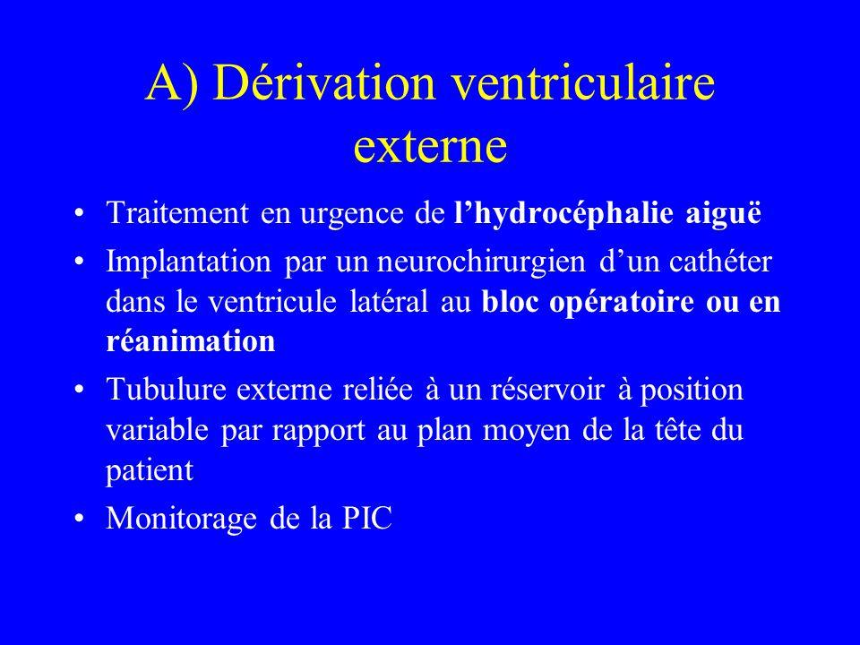 A) Dérivation ventriculaire externe Traitement en urgence de l'hydrocéphalie aiguë Implantation par un neurochirurgien d'un cathéter dans le ventricul