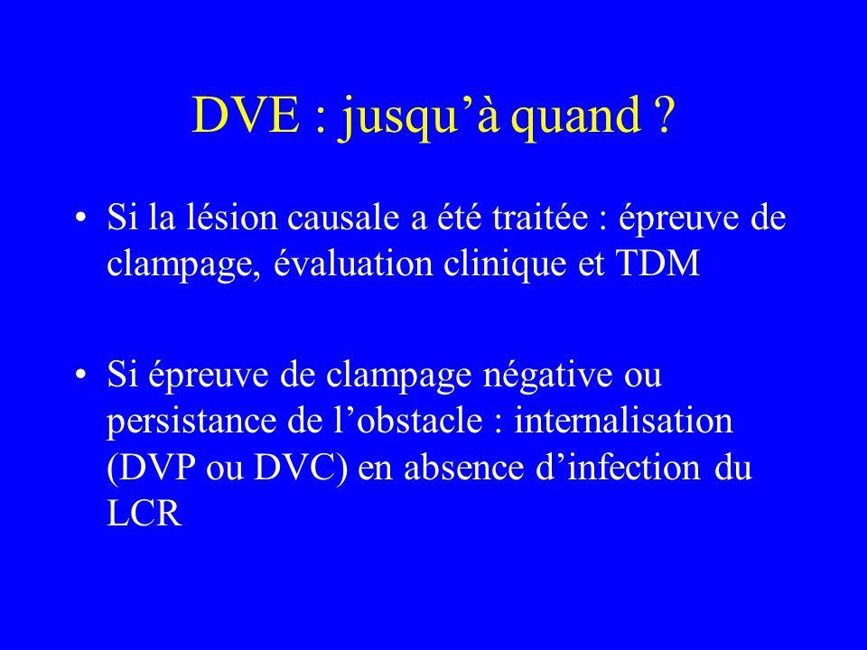 DVE : jusqu'à quand ? Si la lésion causale a été traitée : épreuve de clampage, évaluation clinique et TDM Si épreuve de clampage négative ou persista