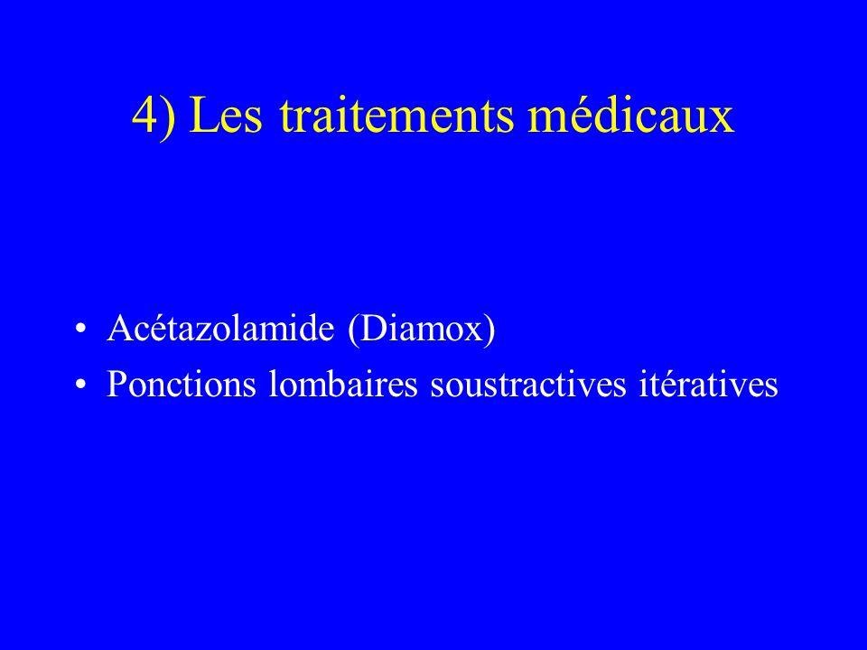 4) Les traitements médicaux Acétazolamide (Diamox) Ponctions lombaires soustractives itératives