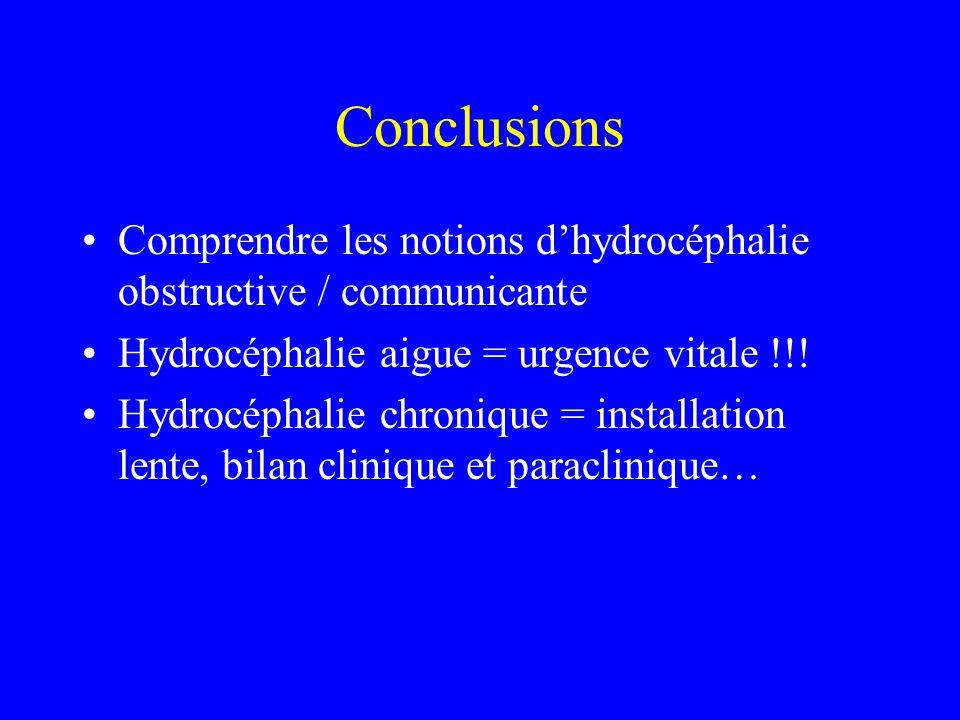 Conclusions Comprendre les notions d'hydrocéphalie obstructive / communicante Hydrocéphalie aigue = urgence vitale !!! Hydrocéphalie chronique = insta