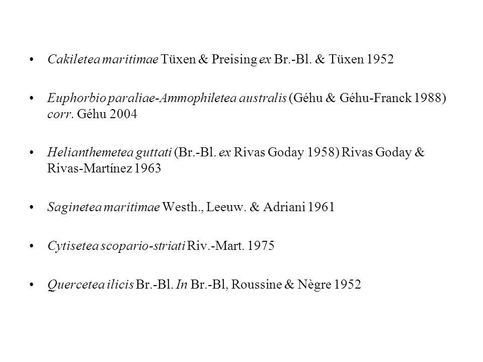 Cakiletea maritimae Tüxen & Preising ex Br.-Bl. & Tüxen 1952 Euphorbio paraliae-Ammophiletea australis (Géhu & Géhu-Franck 1988) corr. Géhu 2004 Helia