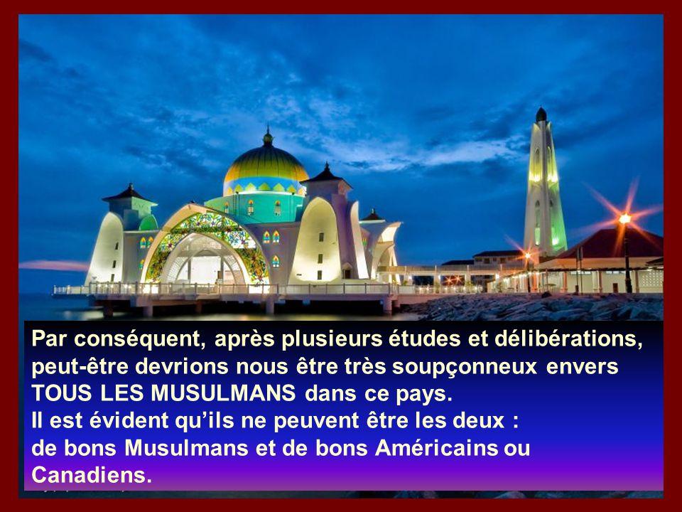 Spirituellement : NON Parce que lorsque nous déclarons « une nation sous Dieu », le Dieu chrétien est amour et bon alors qu'Allah n'est JAMAIS mention