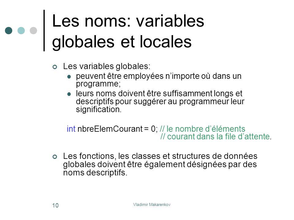 Vladimir Makarenkov 10 Les noms: variables globales et locales Les variables globales: peuvent être employées n'importe où dans un programme; leurs no