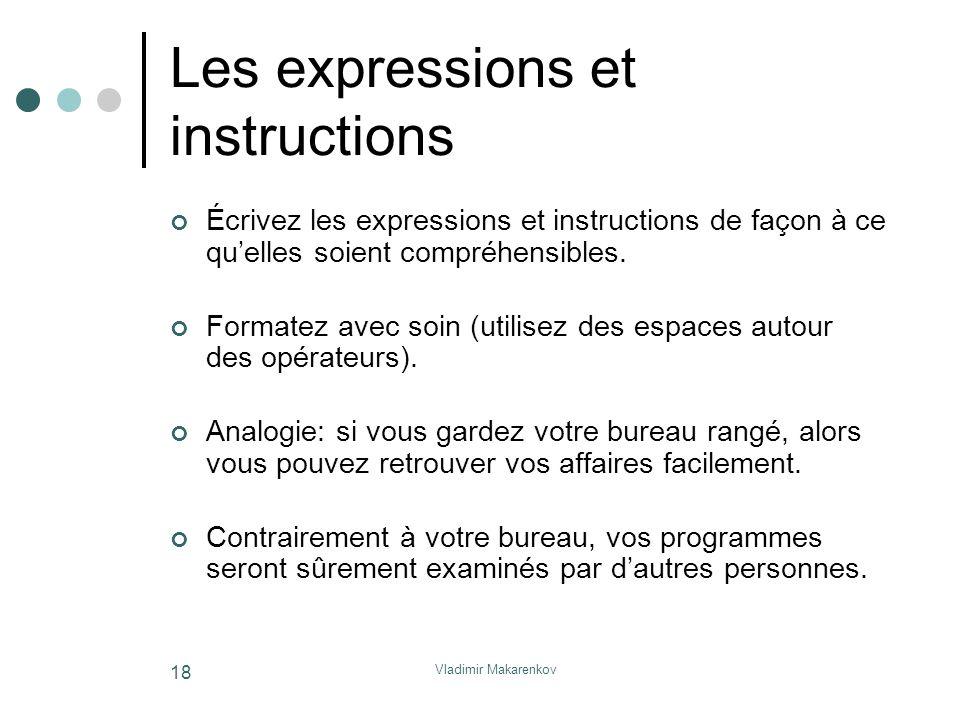 Vladimir Makarenkov 18 Les expressions et instructions Écrivez les expressions et instructions de façon à ce qu'elles soient compréhensibles. Formatez