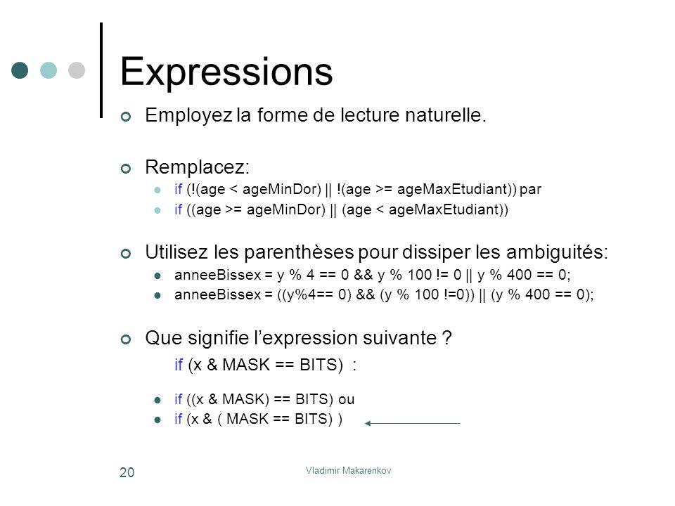 Vladimir Makarenkov 20 Expressions Employez la forme de lecture naturelle. Remplacez: if (!(age = ageMaxEtudiant)) par if ((age >= ageMinDor)    (age