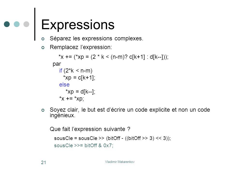 Vladimir Makarenkov 21 Expressions Séparez les expressions complexes. Remplacez l'expression: *x += (*xp = (2 * k < (n-m)? c[k+1] : d[k--])); par if (