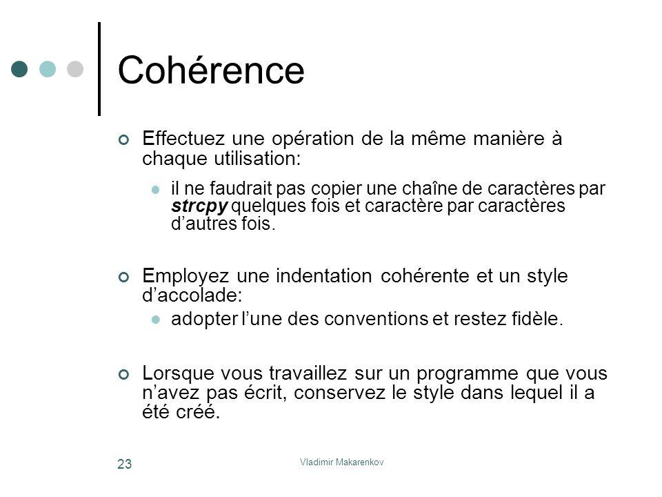 Vladimir Makarenkov 23 Cohérence Effectuez une opération de la même manière à chaque utilisation: il ne faudrait pas copier une chaîne de caractères p