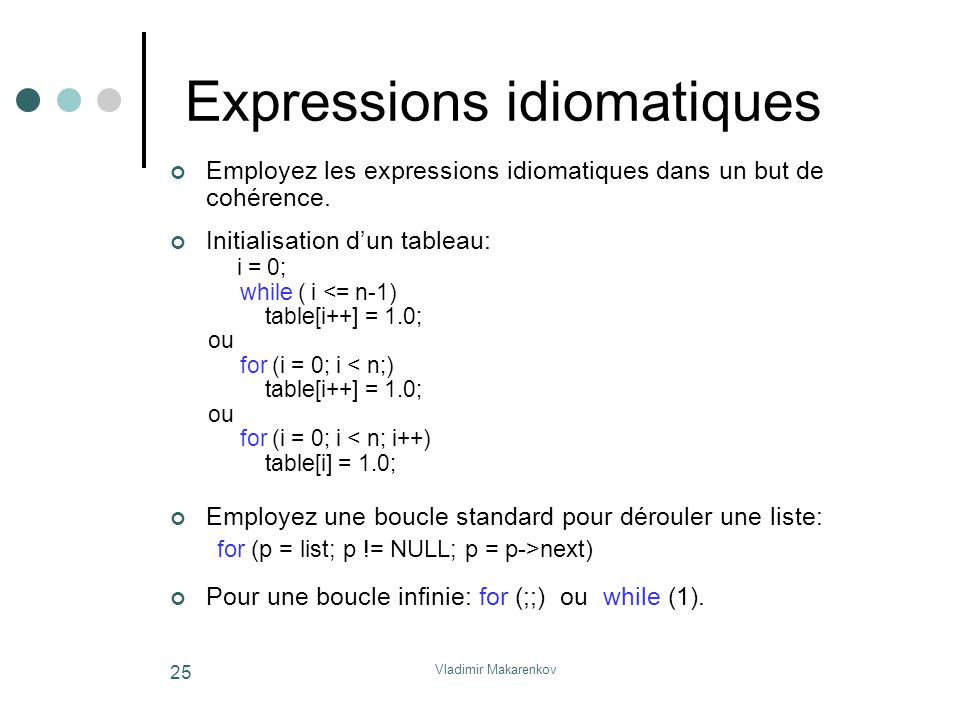 Vladimir Makarenkov 25 Expressions idiomatiques Employez les expressions idiomatiques dans un but de cohérence.