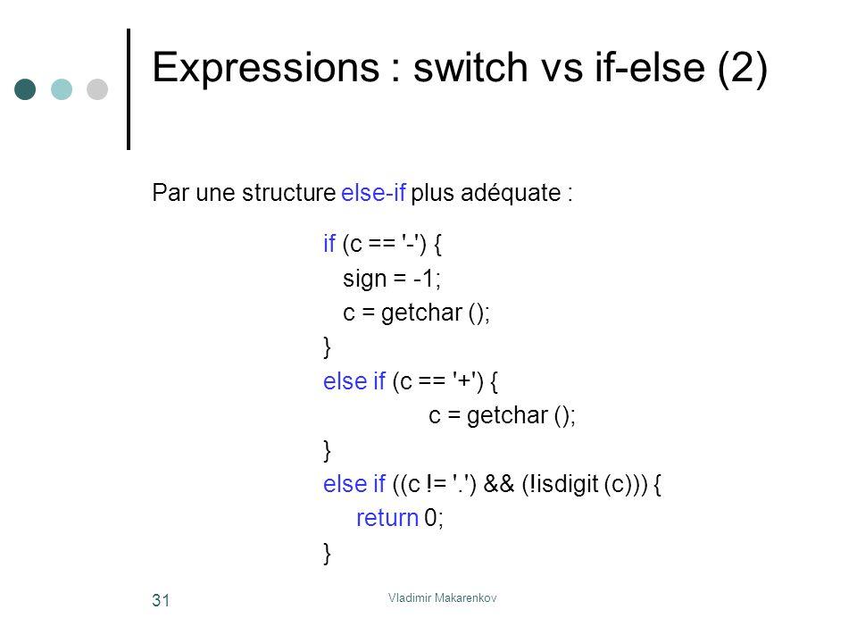 Vladimir Makarenkov 31 Expressions : switch vs if-else (2) Par une structure else-if plus adéquate : if (c == '-') { sign = -1; c = getchar (); } else
