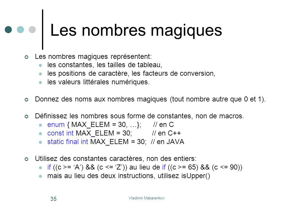Vladimir Makarenkov 35 Les nombres magiques Les nombres magiques représentent: les constantes, les tailles de tableau, les positions de caractère, les
