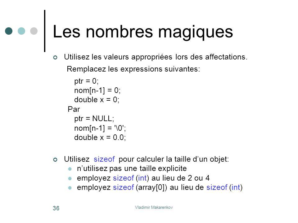 Vladimir Makarenkov 36 Les nombres magiques Utilisez les valeurs appropriées lors des affectations. Remplacez les expressions suivantes: ptr = 0; nom[