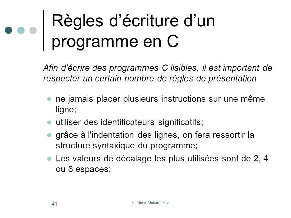 Vladimir Makarenkov 41 Règles d'écriture d'un programme en C Afin d'écrire des programmes C lisibles, il est important de respecter un certain nombre