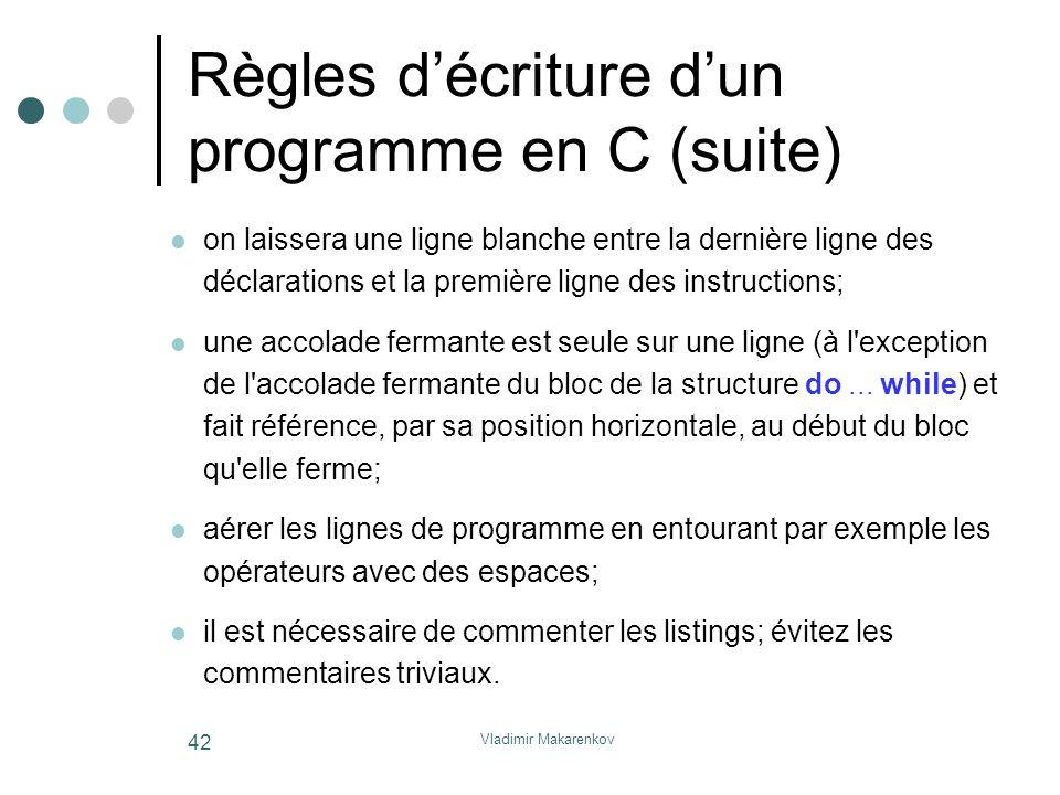 Vladimir Makarenkov 42 Règles d'écriture d'un programme en C (suite) on laissera une ligne blanche entre la dernière ligne des déclarations et la prem