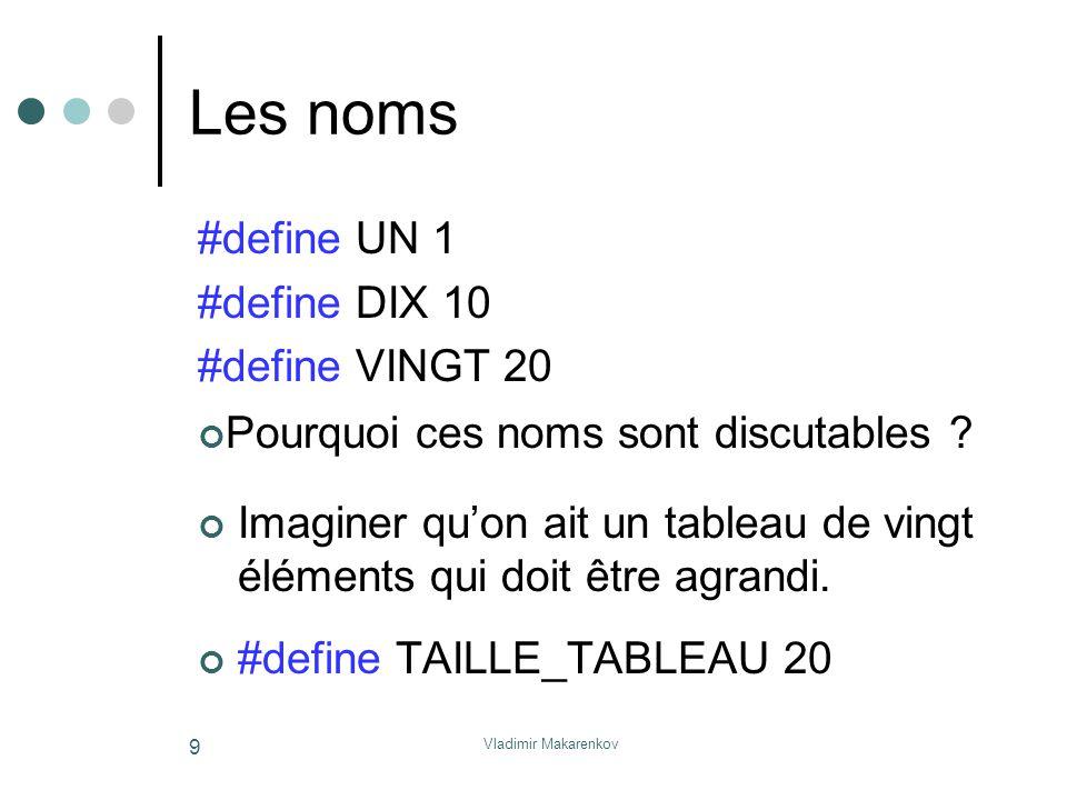 Vladimir Makarenkov 9 Les noms Imaginer qu'on ait un tableau de vingt éléments qui doit être agrandi. #define TAILLE_TABLEAU 20 #define UN 1 #define D