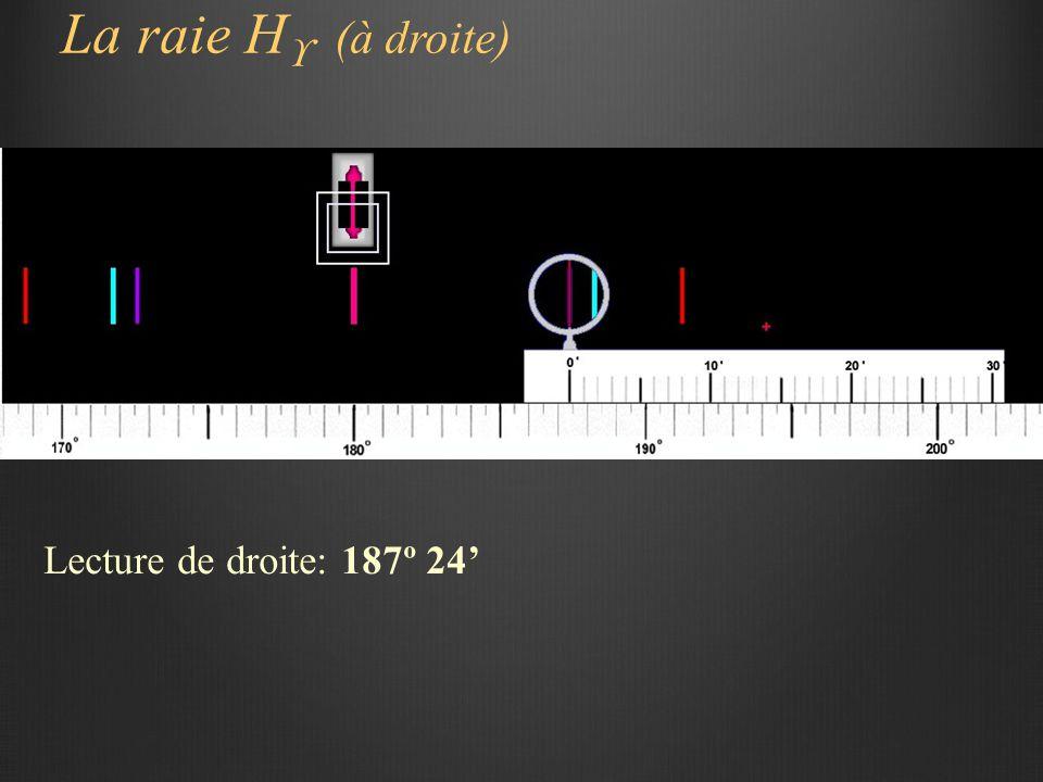 La raie H  (à droite) Lecture de droite: 187º 24'