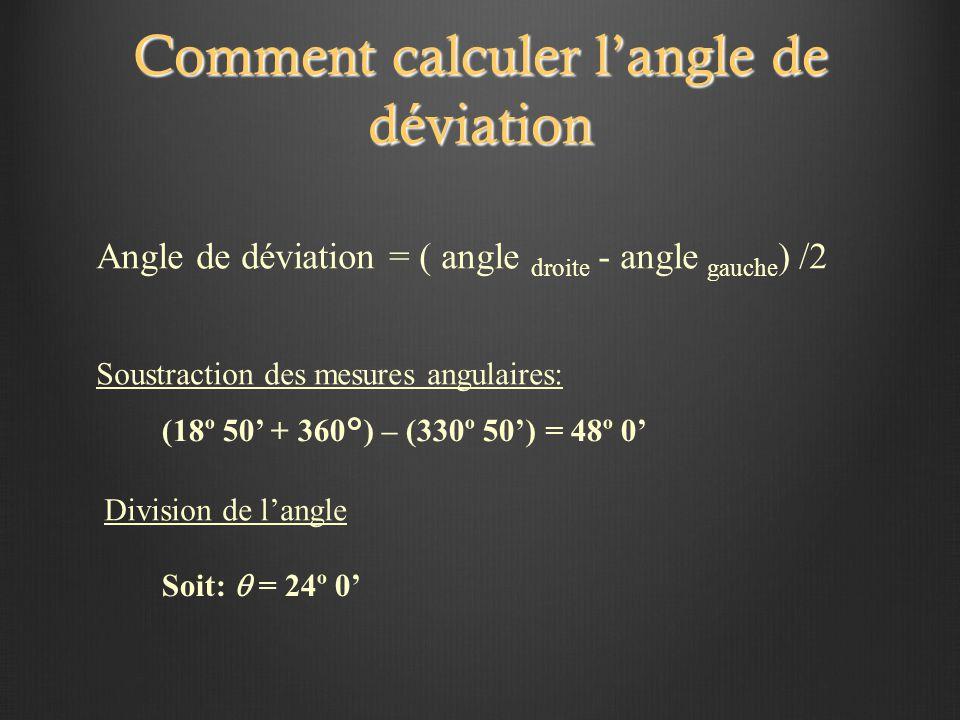 Comment calculer l'angle de déviation (18º 50' + 360°) – (330º 50') = 48º 0' Soit:  = 24º 0' Soustraction des mesures angulaires: Division de l'angle Angle de déviation = ( angle droite - angle gauche ) /2