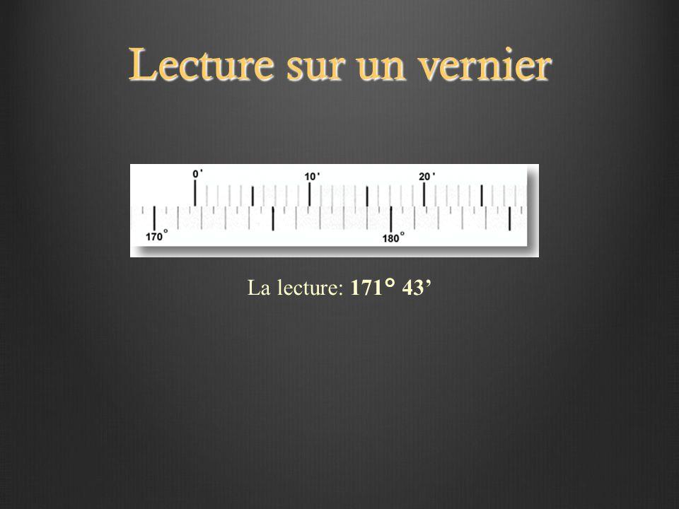 Lecture sur un vernier La lecture: 171° 43'
