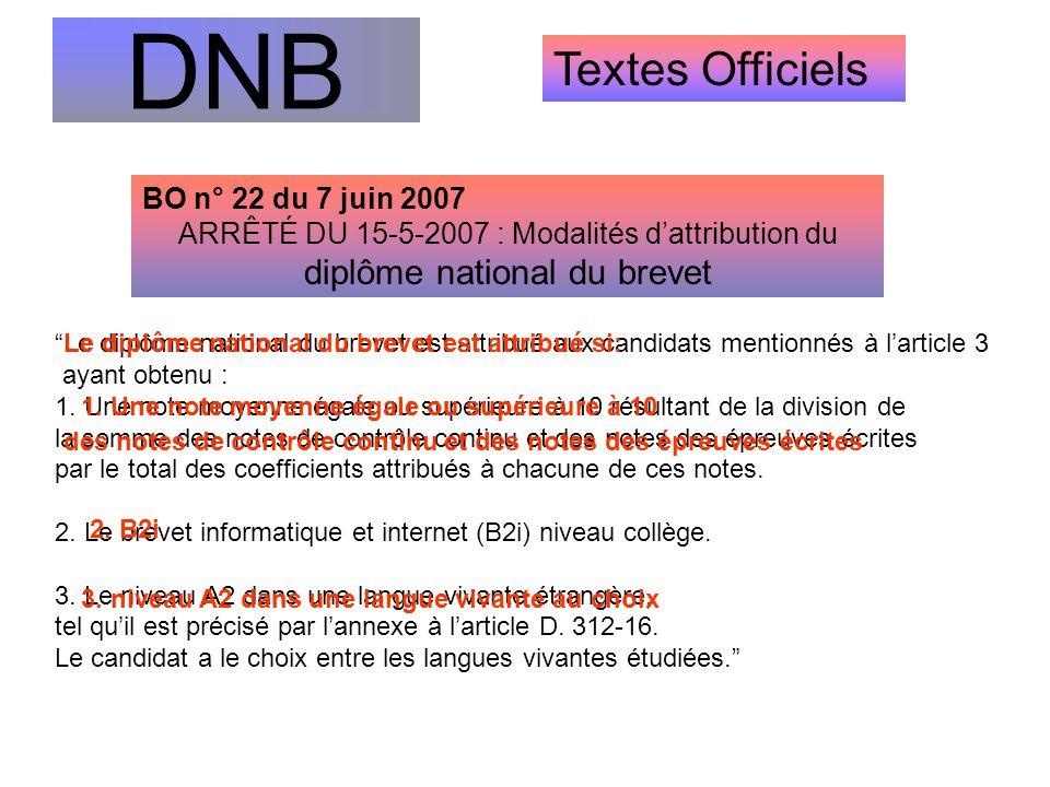 """DNB Textes Officiels """"Le diplôme national du brevet est attribué aux candidats mentionnés à l'article 3 ayant obtenu : 1. Une note moyenne égale ou su"""