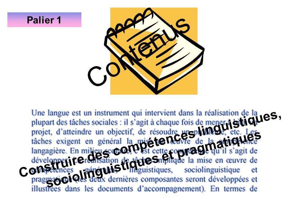 Palier 1 Contenus Construire des compétences linguistiques, sociolinguistiques et pragmatiques