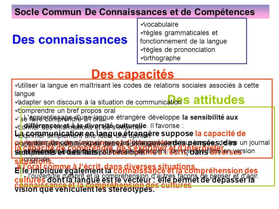 Socle Commun De Connaissances et de Compétences La communication en langue étrangère suppose la capacité de comprendre, de s'exprimer et d'interpréter