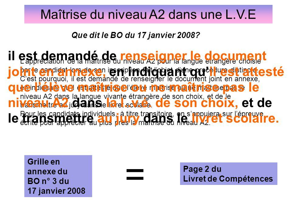 Maîtrise du niveau A2 dans une L.V.E Grille en annexe du BO n° 3 du 17 janvier 2008 Page 2 du Livret de Compétences L'appréciation de la maîtrise du n