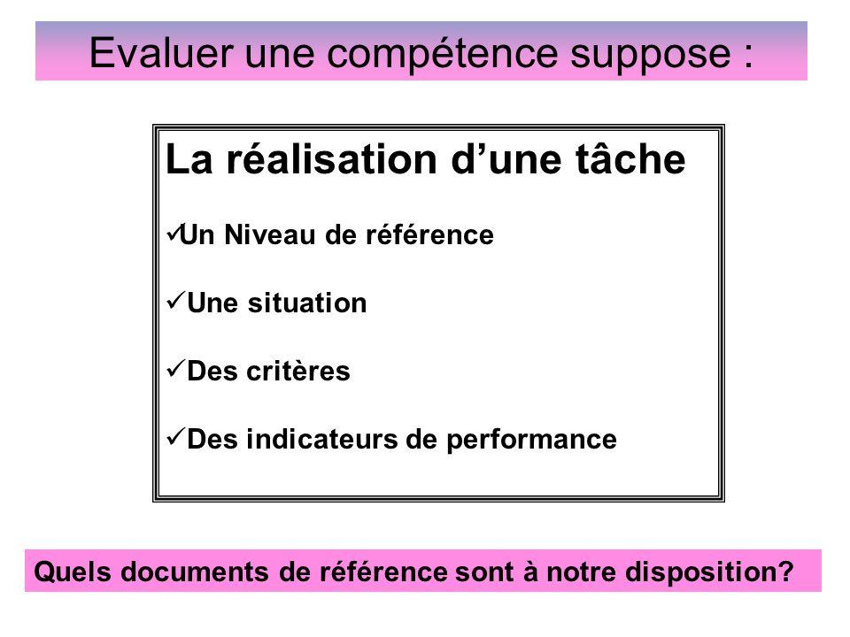 Evaluer une compétence suppose : Quels documents de référence sont à notre disposition? La réalisation d'une tâche Un Niveau de référence Une situatio